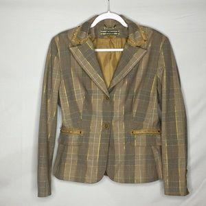 Allen by Allen Schwartz Metallic Plaid Pants Suit